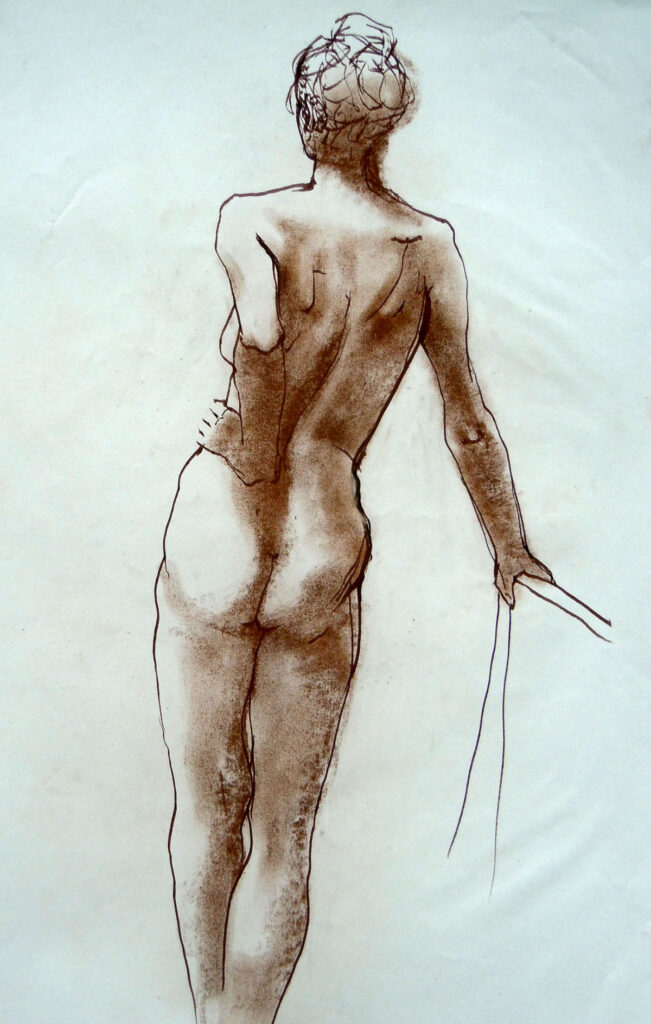 Marie Claire Standing – Ink and Pastel