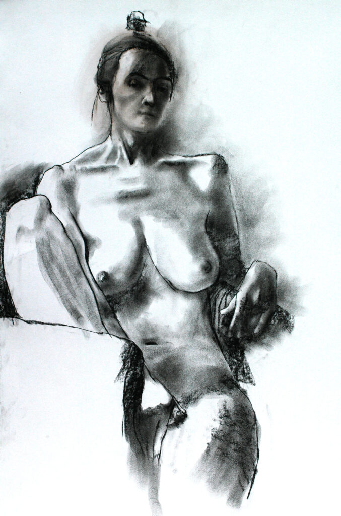 Marie Claire Seated – Ink and Charcoal