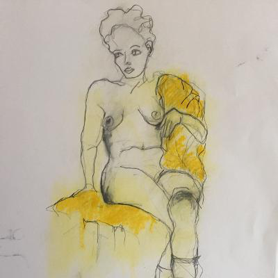 Nude seated on yellow