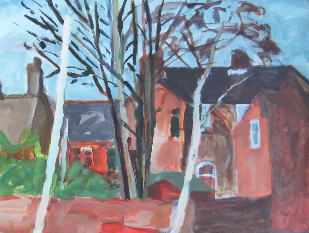 View of Stretford Houses with White Pole (acrylic)