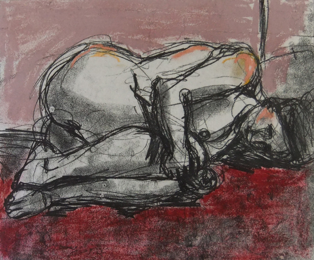 On the red blanket (charcoal, pastel)