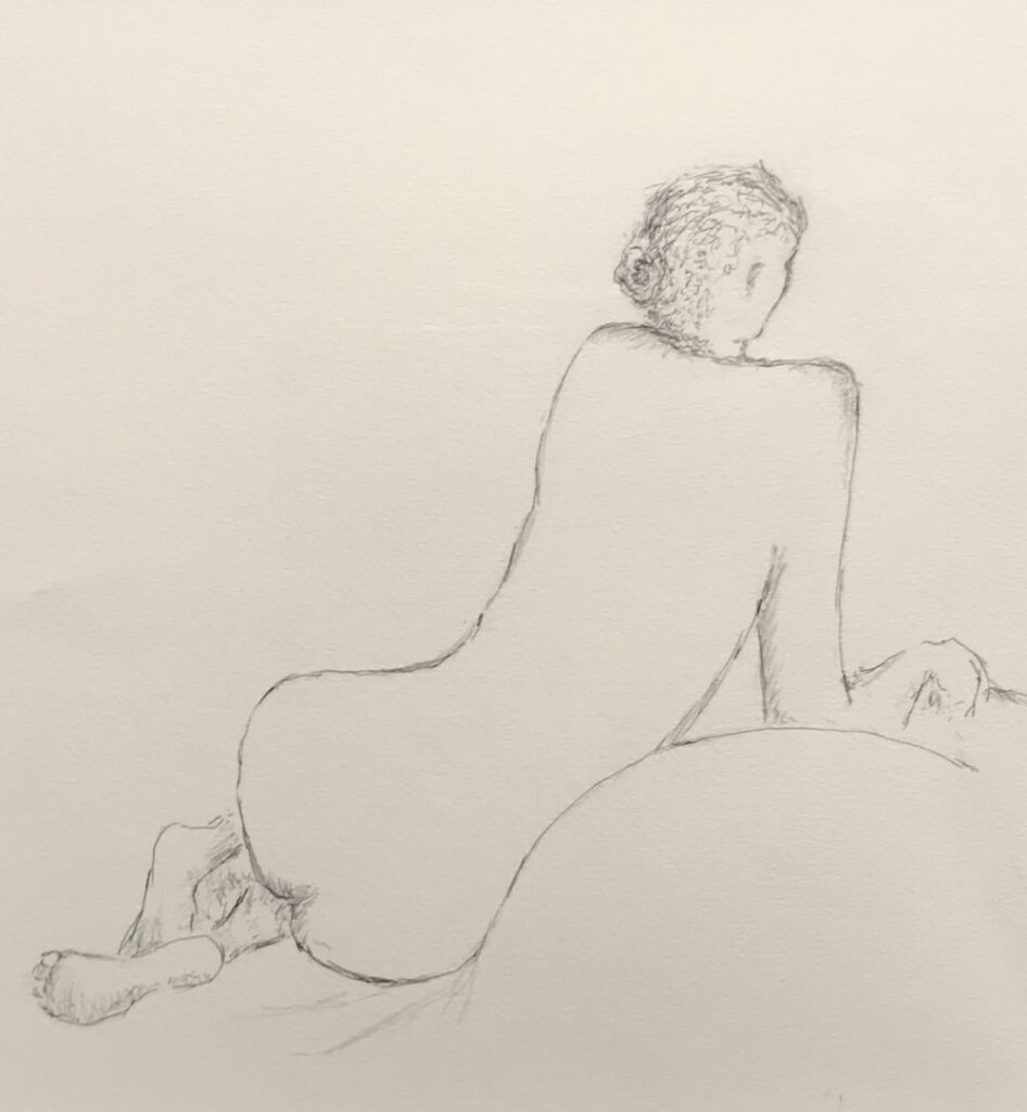 The Model with a Long Back - pencil on paper