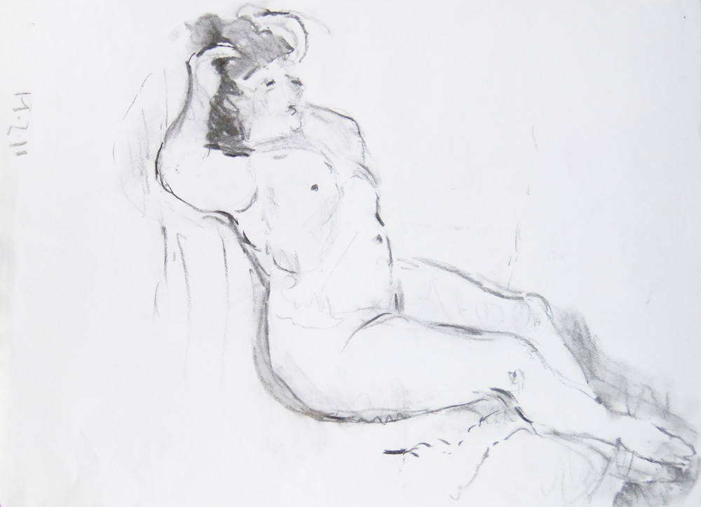 Woman stretching (charcoal)