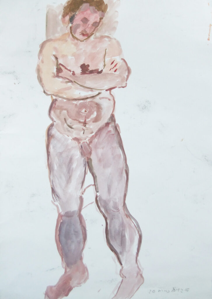 Standing man with arms folded (gouache)