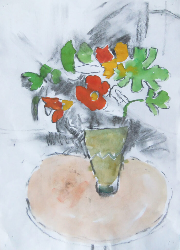 Smudged flower drawing (charcoal-gouache)