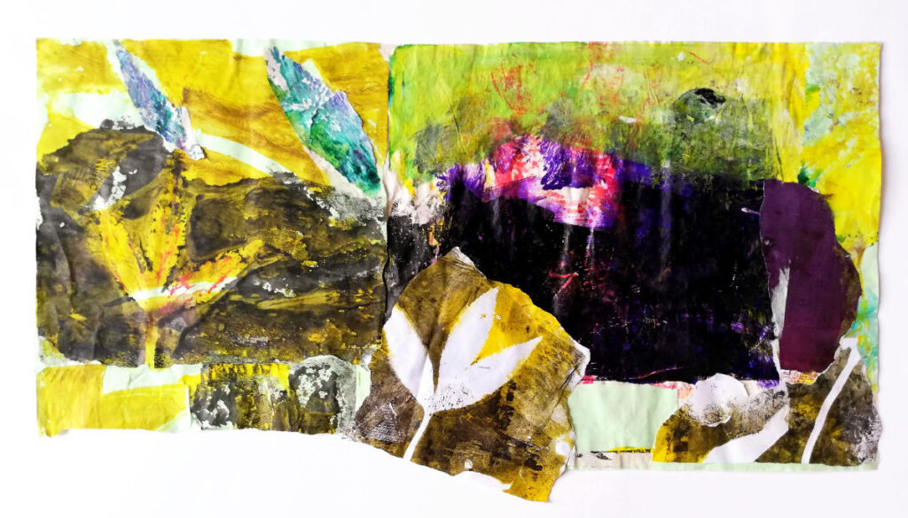 'The Nantlle Valley, N. Wales'. Mixed media, collage