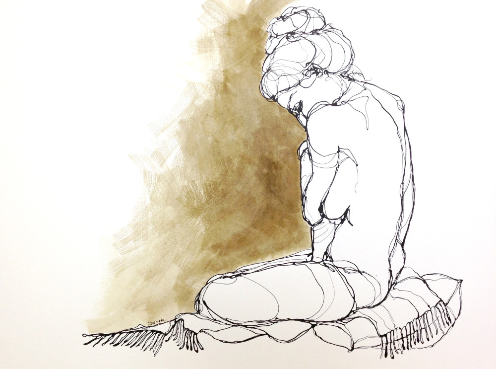 Seated figure - ink on paper