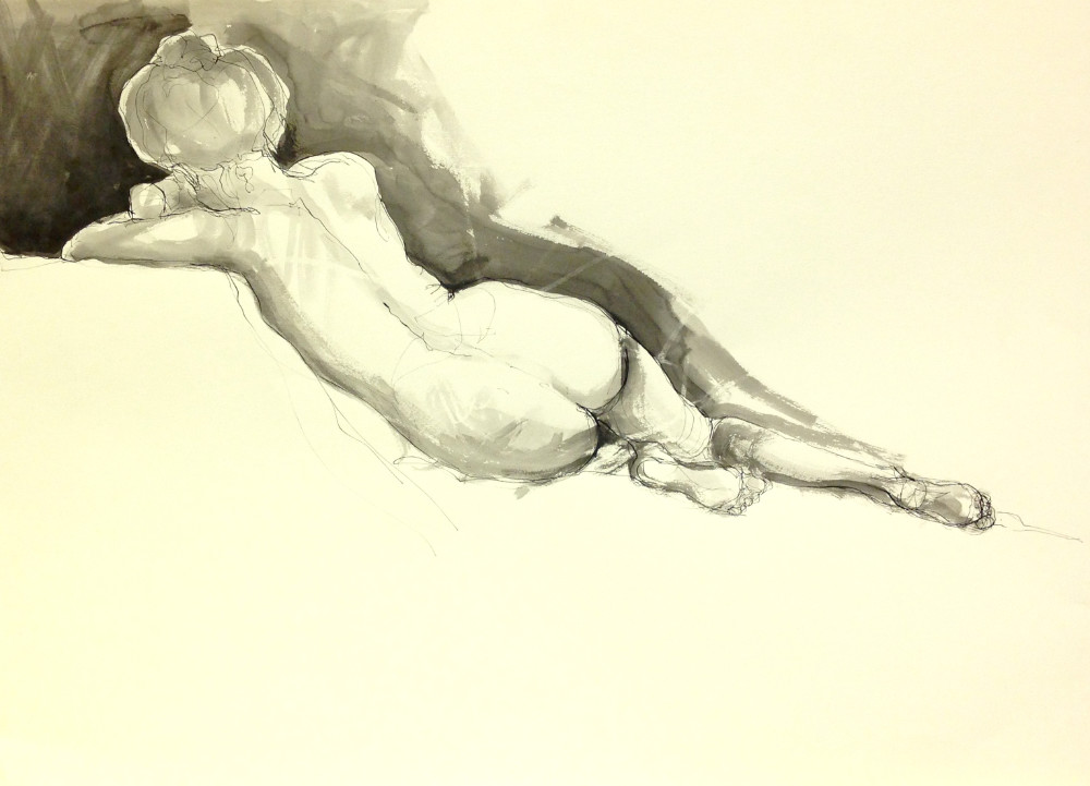 Reclining figure - ink on paper
