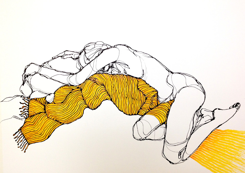 Amber yarn - ink on paper