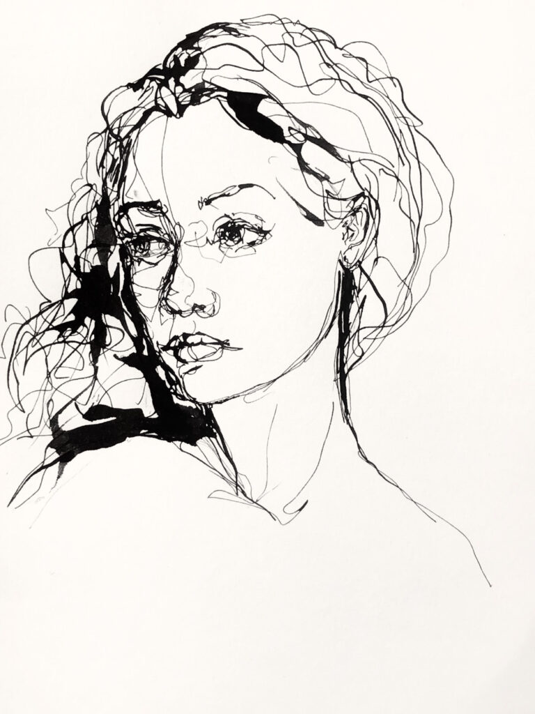 Ink thread - ink on paper