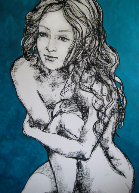 Girl with curled leg - mixed medium